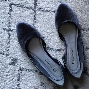 Chinese Laundry Gray Velvet D'Orsay Slip On Flats